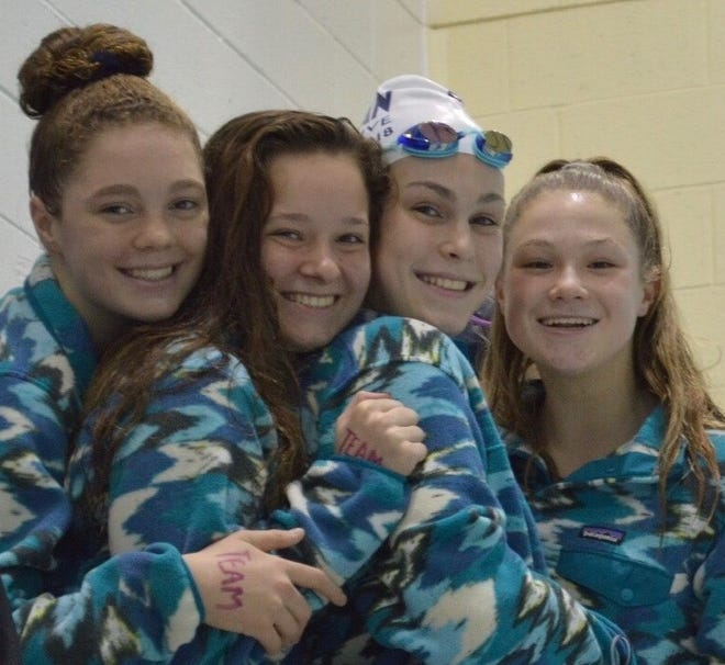 Marian's foursome of Lauren Sielicki, Mary Snyder, Anika Fassett and Julia Waechter won the 200-yard medley relay championship at the recent Division 3 state meet with a time of 1:46.71.