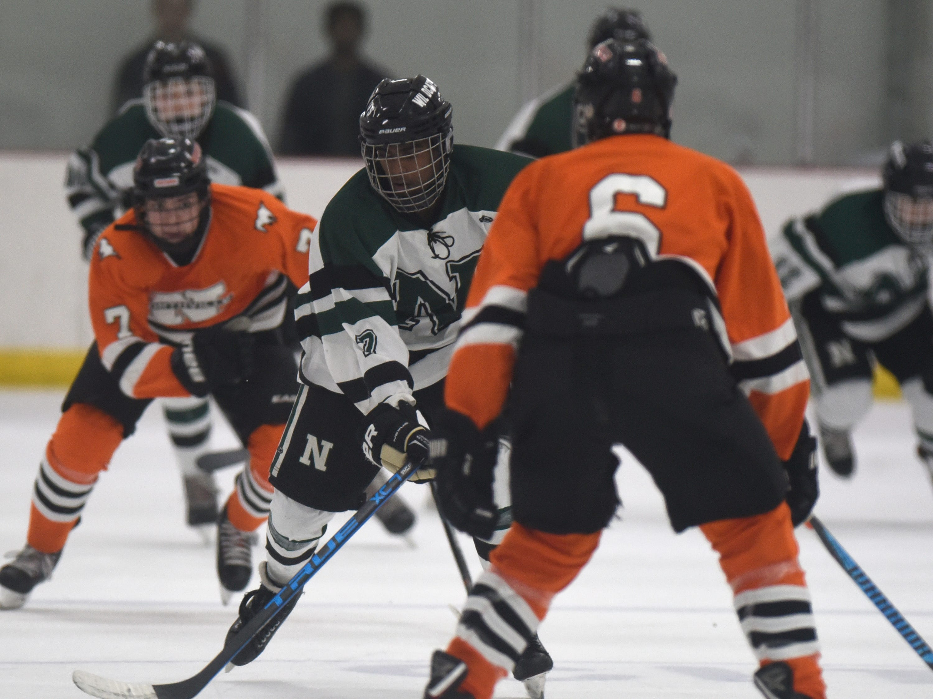 Novi forward Tanish Nichanametla (7) during a KLAA West match up between rivals Novi and Northville played at Novi Ice Arena Nov. 20, 2018.