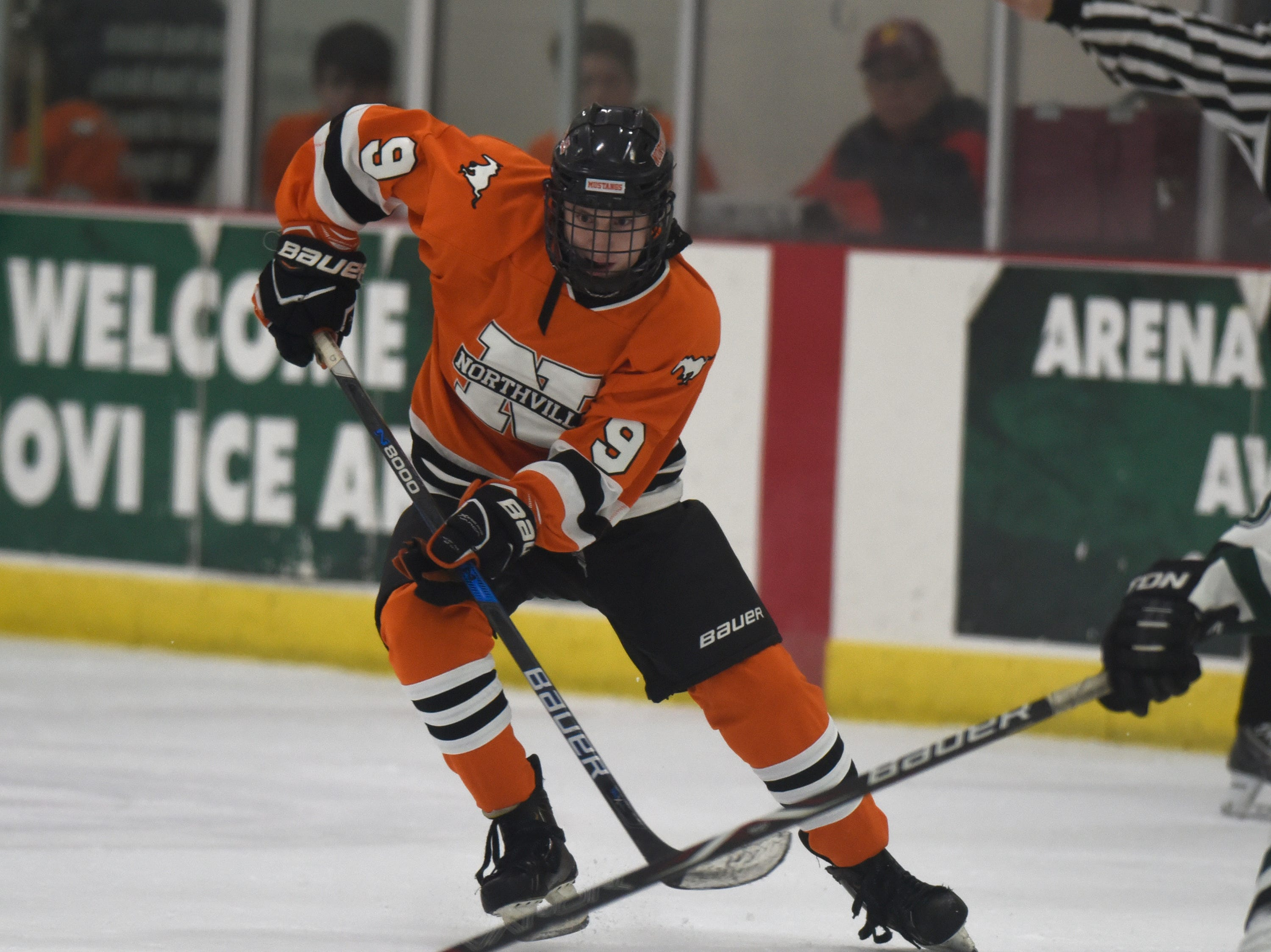 Northville forward Brett Dann (9) during a KLAA West match up against rival Novi.