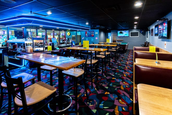 New tables and lighting at the bar are among the improvements at Country Lanes in Farmington Hills.