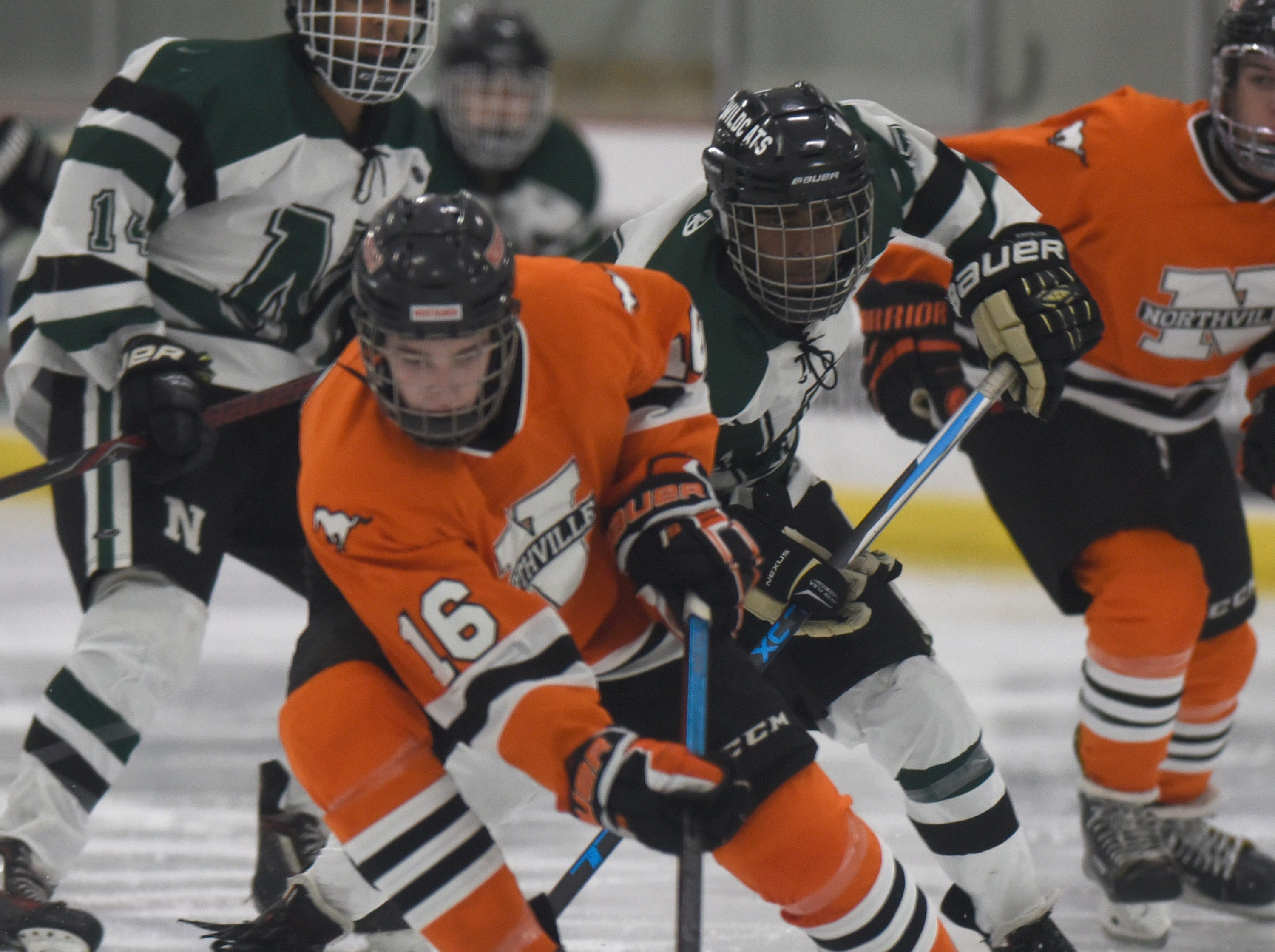 Northville defenseman Liam Cooney (16) during a KLAA West match up against rival Novi.