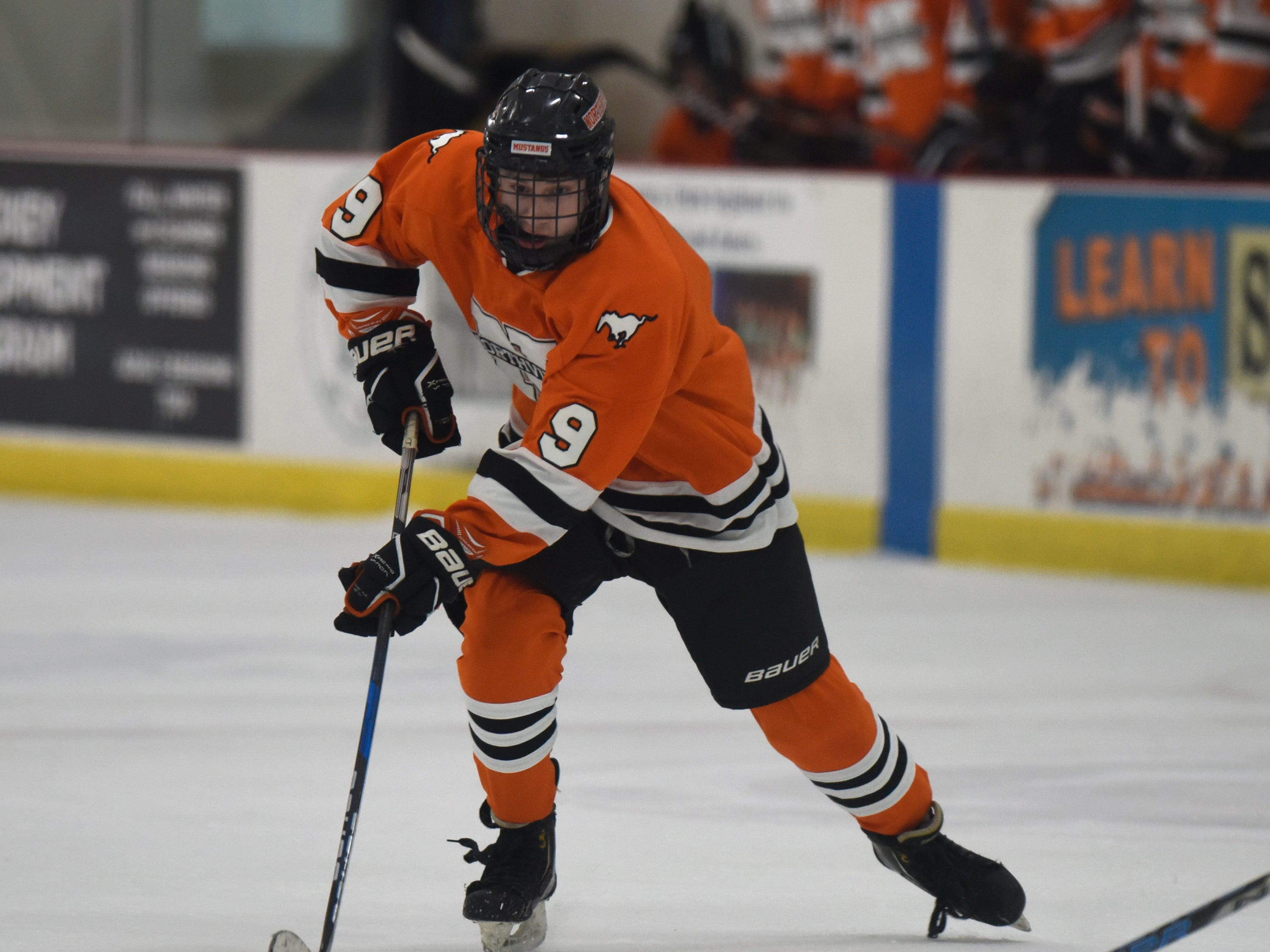 Northville forward Brett Dann (9) during a KLAA West match up between rivals Novi and Northville played at Novi Ice Arena Nov. 20, 2018.
