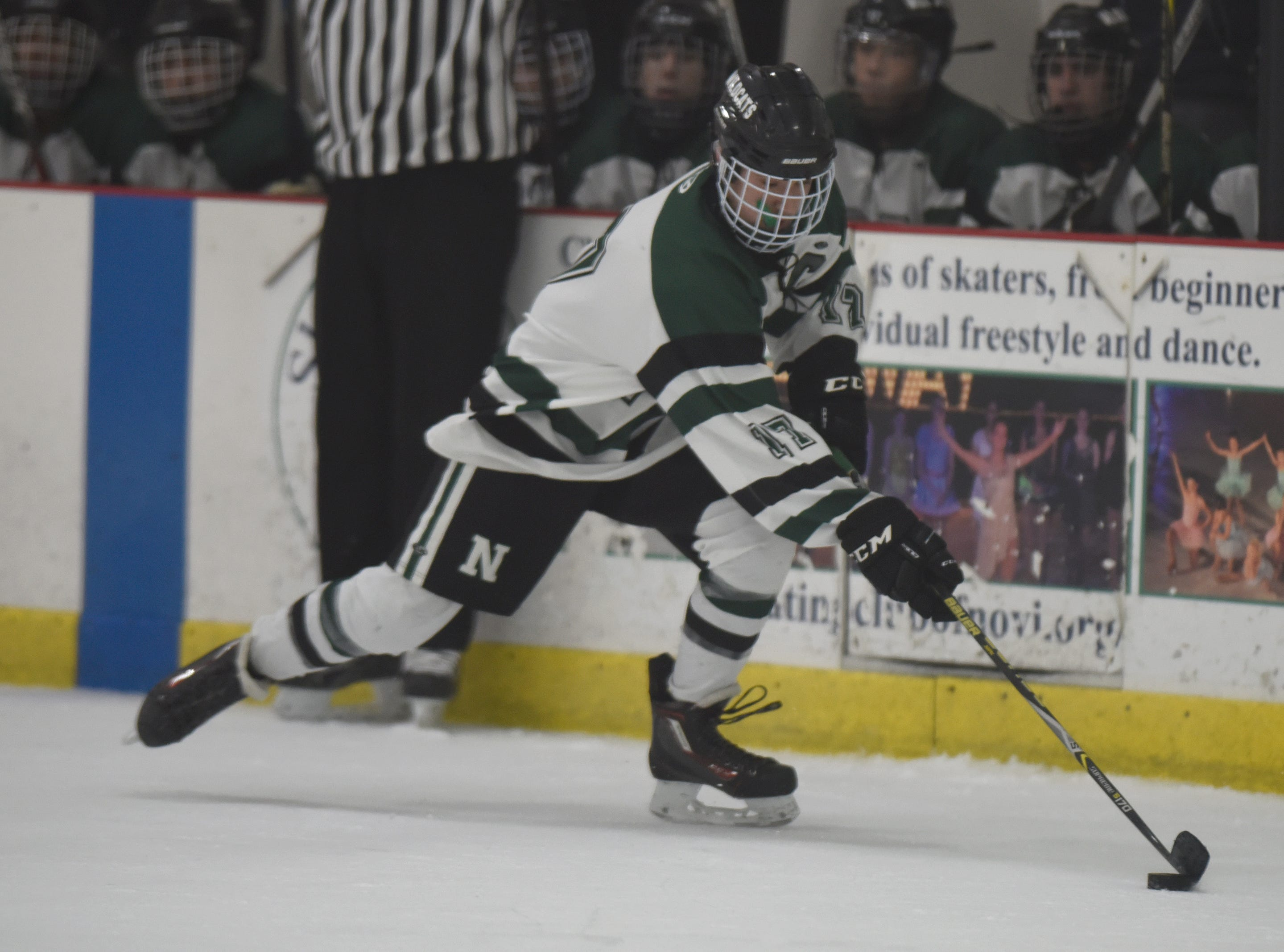 Novi forward Ryan Pinho (17) during a KLAA West match up between rivals Novi and Northville played at Novi Ice Arena Nov. 20, 2018.