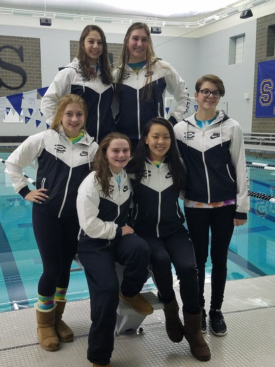 South Lyon East's six-member state team included (clock wise starting from top right) Lindsay Boals, Madi Zielinski,  Hannah Sun, Abby Seybert, Sophia Ohland and Melanie Cosens.