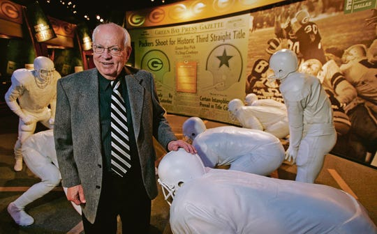 Former Green Bay Packers public relations director and historian Lee Remmel stands in the Packer Hall of Fame on Jan. 7, 2005. Remmel died at age 90 in 2015. Cliff Christl replaced Remmel as the team's historian.