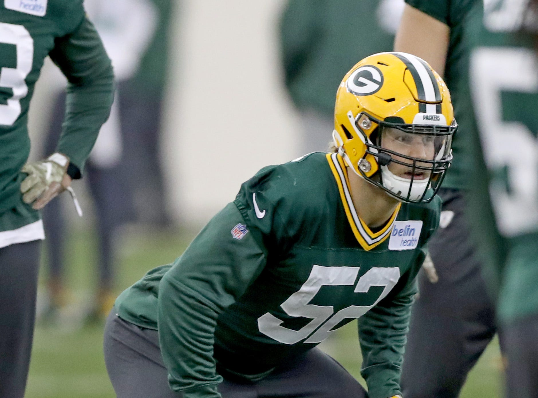 Green Bay Packers outside linebacker Clay Matthews (52) during practice Wednesday, November 21, 2018 inside the Don Hutson Center in Ashwaubenon, Wis.
