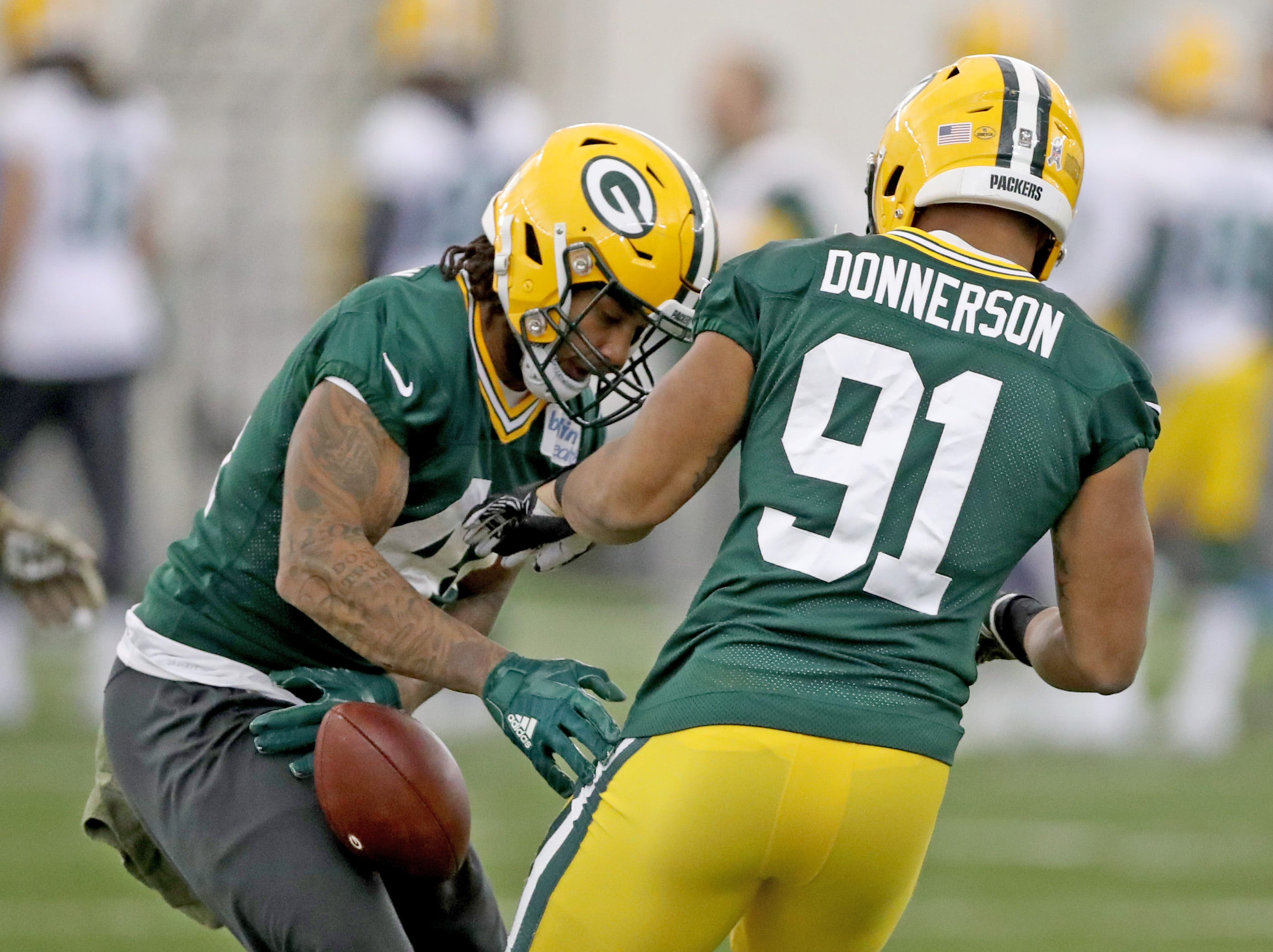 Green Bay Packers inside linebacker Antonio Morrison (44) and linebacker Kendall Donnerson (91) during practice Wednesday, November 21, 2018 inside the Don Hutson Center in Ashwaubenon, Wis.