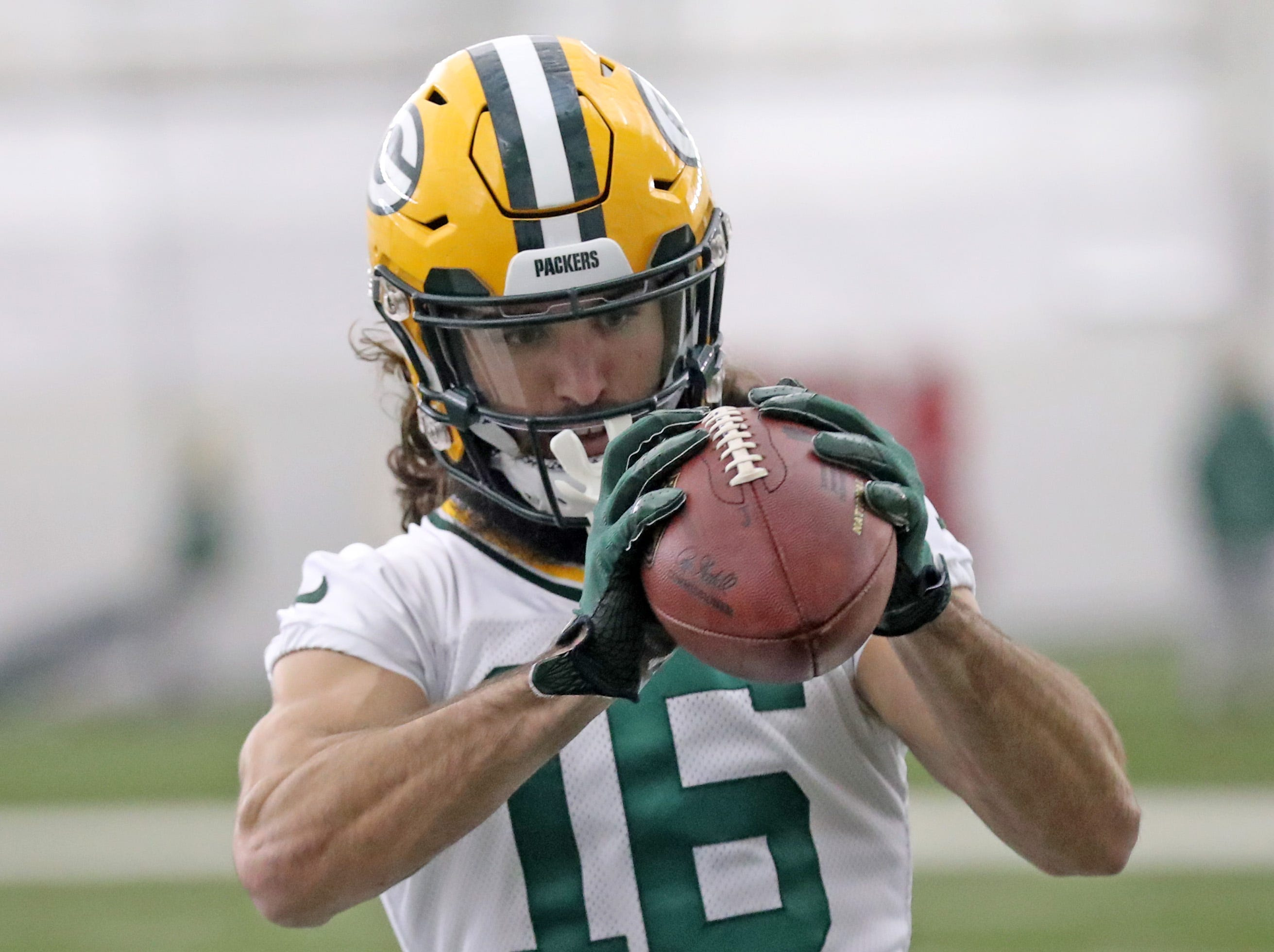 Green Bay Packers wide receiver Jake Kumerow (16) during practice Wednesday, November 21, 2018 inside the Don Hutson Center in Ashwaubenon, Wis.