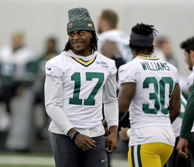 Green Bay Packers wide receiver Davante Adams (17) smiles during practice Wednesday, November 21, 2018 inside the Don Hutson Center in Ashwaubenon, Wis.