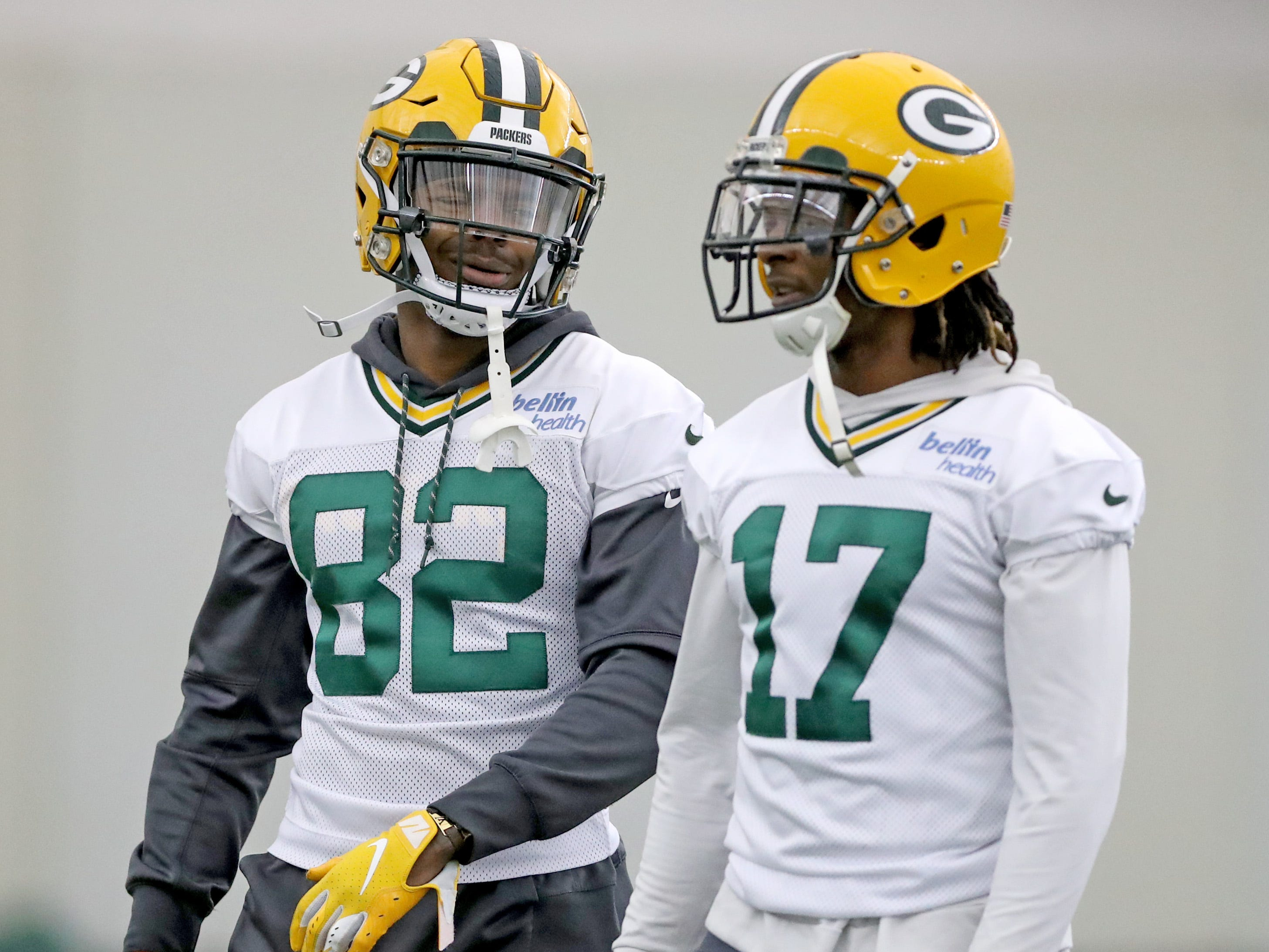 Green Bay Packers wide receiver J'Mon Moore (82) talks with wide receiver Davante Adams (17) during practice Wednesday, November 21, 2018 inside the Don Hutson Center in Ashwaubenon, Wis.