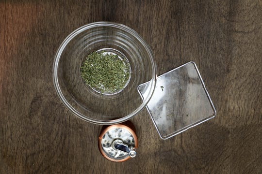 Ground cannabis sits on the counter at Orange Kitchen in Vista, Calif. on Monday, November 11, 2018.