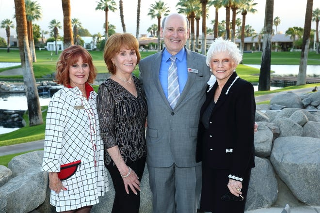 (L-R) Muses & Patroness Circle membership co-chair June Benson, hostess Karen Miles, McCallum Theatre president and CEO Mitch Gershenfeld, and Muses president Mary Latta.