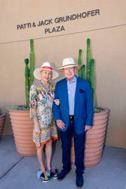 L-R Patti and Jack Grundhofer pose in their namesake Welcome Plaza at The Living Desert Zoo and Gardens