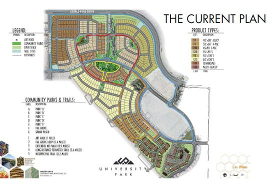 Proposed site plan for the University Park neighborhood project in Palm Desert