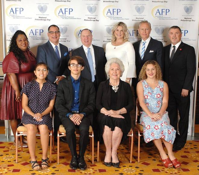 National Philanthropy Day In The Desert 2018 Six Honorees- Back Row (left to right) Denisha Shackelford of Coachella Valley Youth Grantmakers, Patrick Evans, Barry & Jill Golden, Walter Clark, Tim Evans, CFRE.  Front Row: (left to right) Melissa Oropeza, Andrew Nielsen, Roberta Klein, and Margrid Hanrahan.