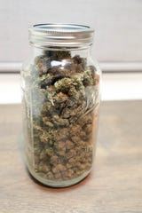 Cannabis sits on the counter at Orange Kitchen in Vista, Calif. on Monday, November 11, 2018.