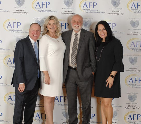 (left to right) Barry & Jill Golden, OUTSTANDING PHILANTHROPISTS, Dr. Richard Hart of Loma Linda University Health, Jillian Payne of Loma Linda University Health.