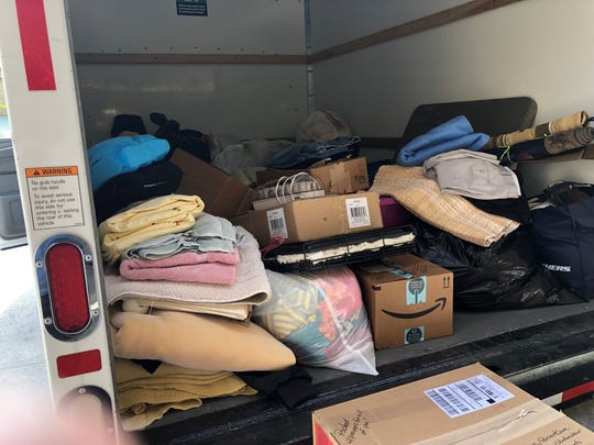 Donated items from the Coachella Valley sit in a U-Haul heading to Paradise, Calif. on Tuesday.