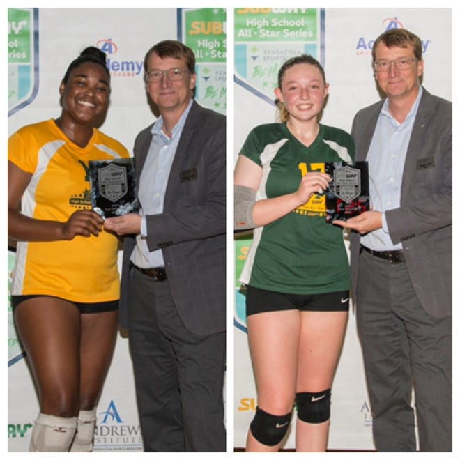 Subway High School Volleyball All-Star Game East MVP Maria Santos (left) and West MVP Emmy Chambers (right).