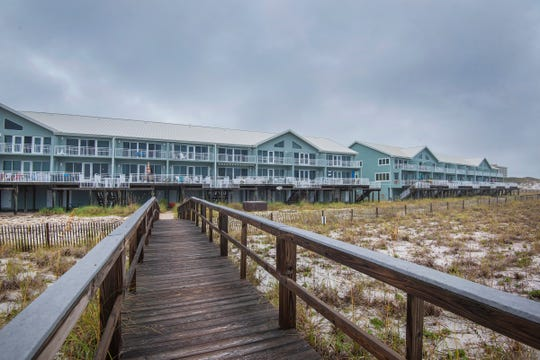 439 Fort Pickens RoadThe townhomes include a walkway to the beach.