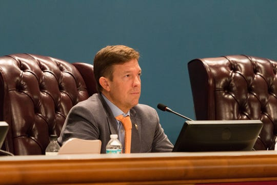 Escambia County Commissioner Steven Barry speaks at a meeting on Nov. 20, 2018
