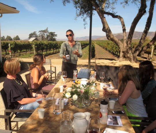Wine tasting at the Biddle Ranch Winery in Edna Valley, California.