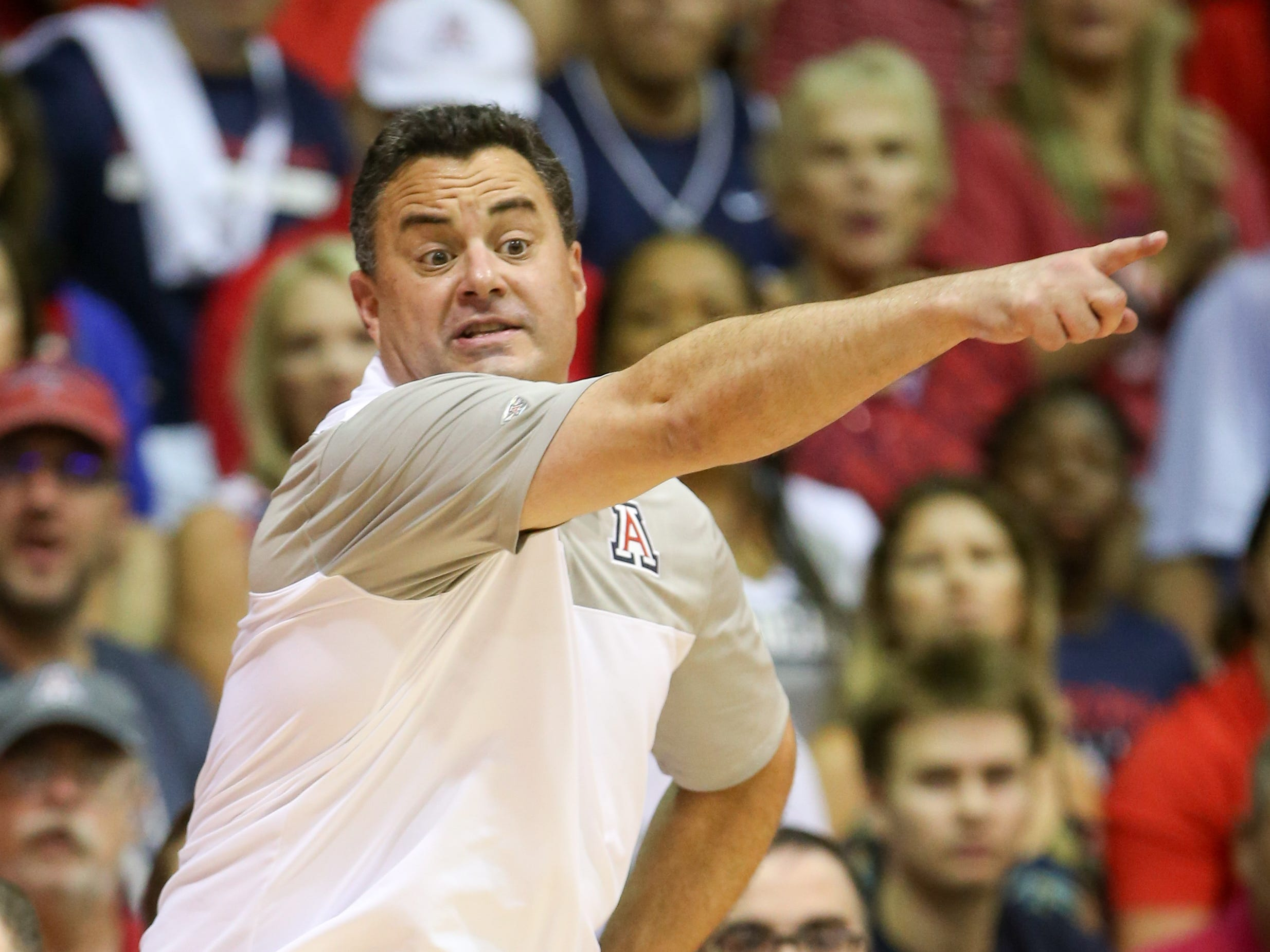 Head coach Sean Miller of the Arizona Wildcats directs his team during the first half of the game against the Gonzaga Bulldogs at the Lahaina Civic Center on November 20, 2018 in Lahaina, Hawaii.