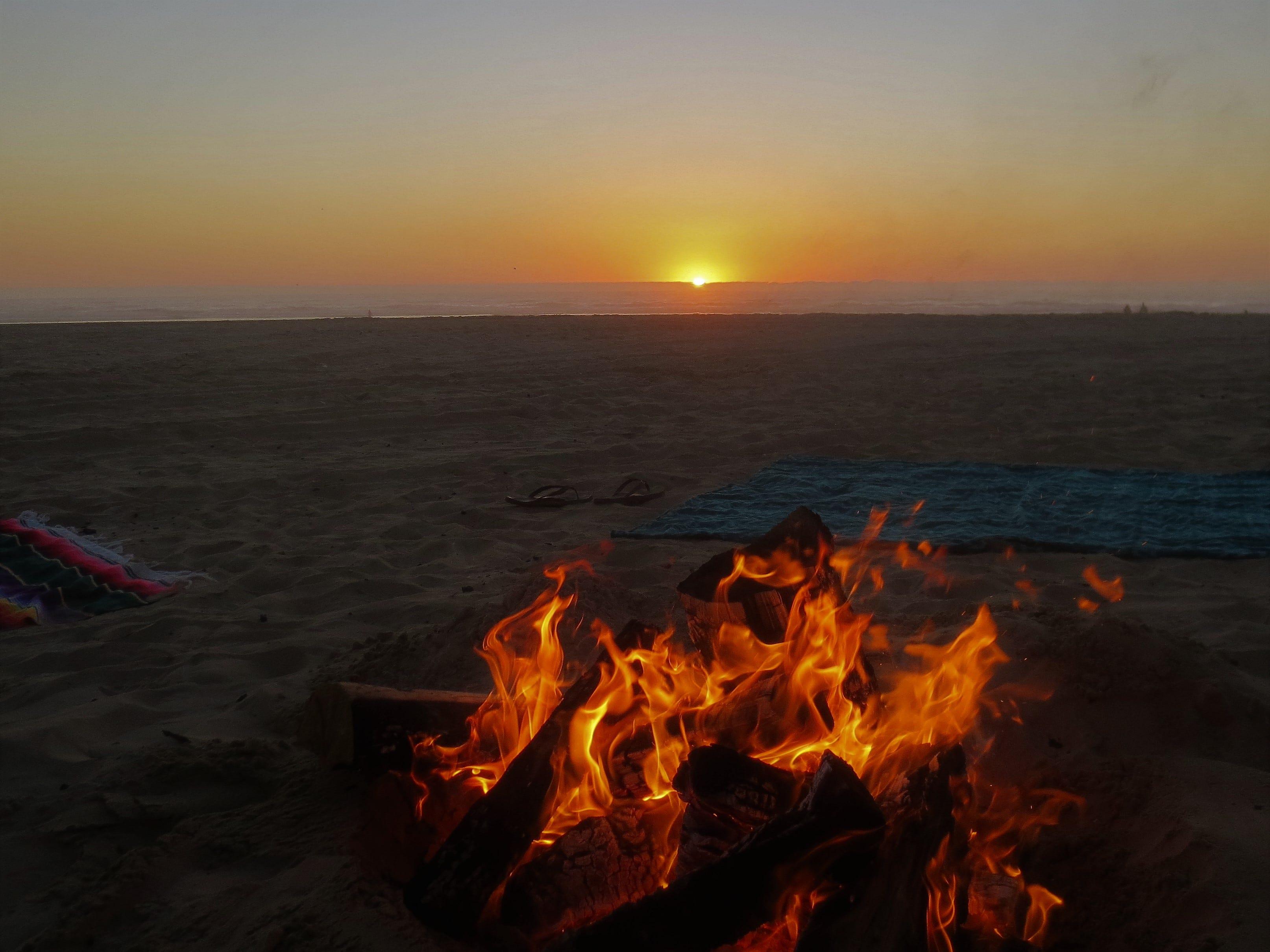 A sunset bonfire at Grover Beach in San Luis Obispo County, California.