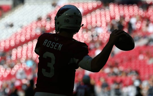 Arizona Cardinals quarterback Josh Rosen warms up before facing the Oakland Raiders during a game Nov. 18 at State Farm Stadium.