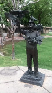 """The """"Old Friends"""" sculpture greets visitors to Murphy Park and Velma Teague Library."""