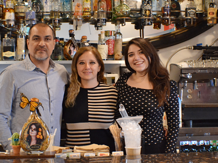 (L-R) Francisco Peralta, Azul Peralta and daughter GG Peralta run El Charro Hipster Bar & Cafe together in downtown Phoenix's Grand Avenue Arts District.