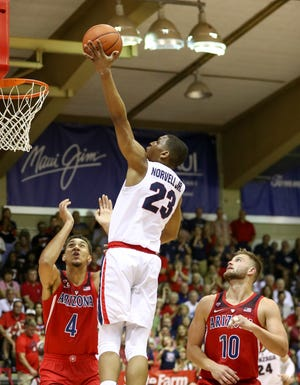 Zach Norvell Jr. #23 of the Gonzaga Bulldogs lays the ball in during the first half of the game against the Arizona Wildcats at the Lahaina Civic Center on November 20, 2018 in Lahaina, Hawaii.
