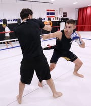 Garrett Volpe spars with Vincent Van Riper of New Windsor at Precision Mixed Martial Arts in the Town of Poughkeepsie on November 20, 2018.