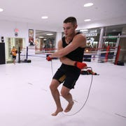 Garrett Volpe works out with his jump rope at Precision Mixed Martial Arts in the Town of Poughkeepsie on November 20, 2018.
