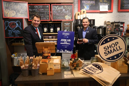 From left, Dutchess County Regional Chamber of Commerce President Frank Castella and Dutchess County Executive Marc Molinaro pose together at the Crafted Kup in Poughkeepsie on Nov. 20, 2018.
