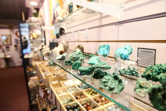 Gems and minerals for sale at The Dreaming Goddess on Raymond Avenue in the Arlington Business District on November 13, 2018.