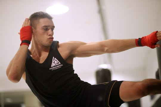 Garrett Volpe works out at Precision Mixed Martial Arts in the Town of Poughkeepsie on November 20, 2018.