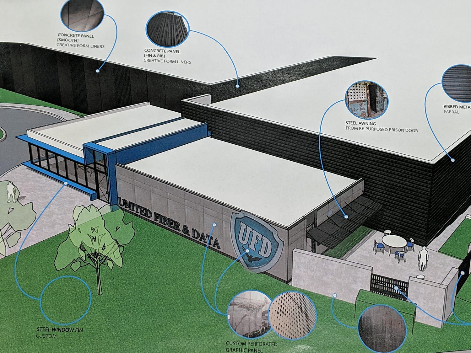 Pieces taken from the interior of the old York County Prison will be incorporated into the new structure.  Here is an artist's rendering of the new UFD data center that will incorporate the old York County Prison. The renderings are by Warehaus.