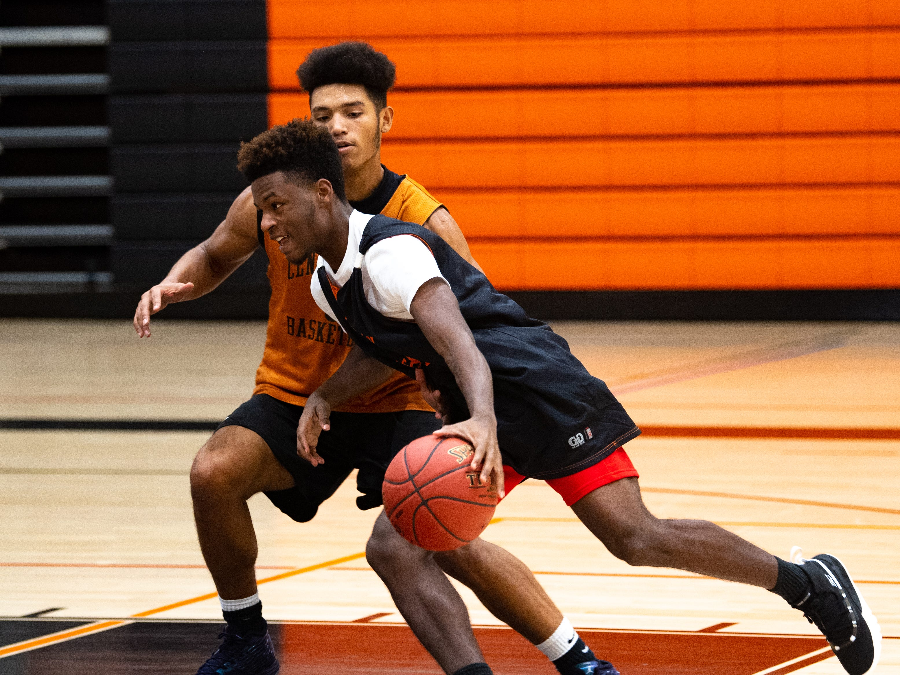 Central York boys' basketball players must drive down the lane in this drill, Wednesday, November 21, 2018.