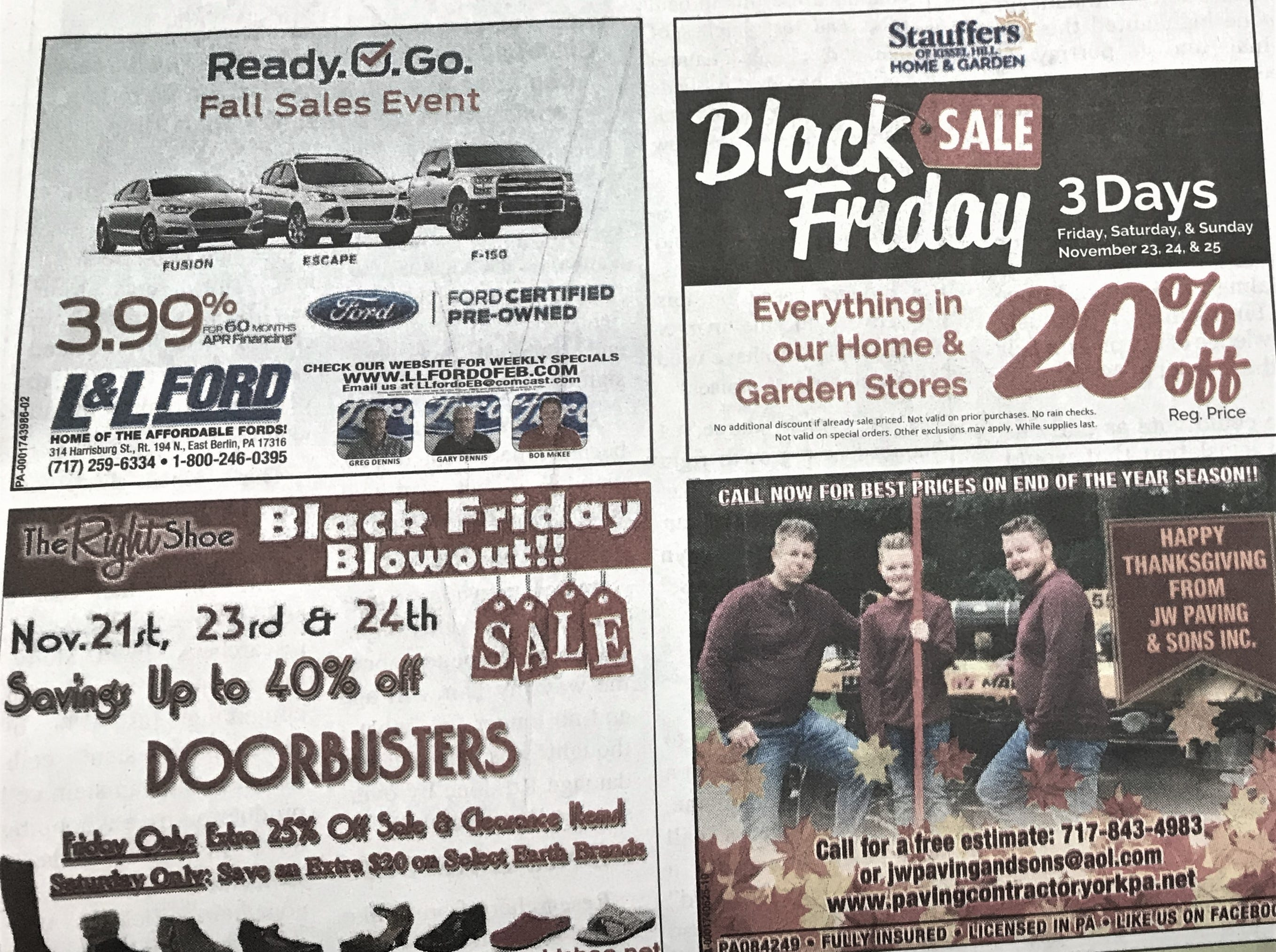 A cluster of Black Friday ads that appeared in the York Daily Record on Wednesday, November 21, 2018.