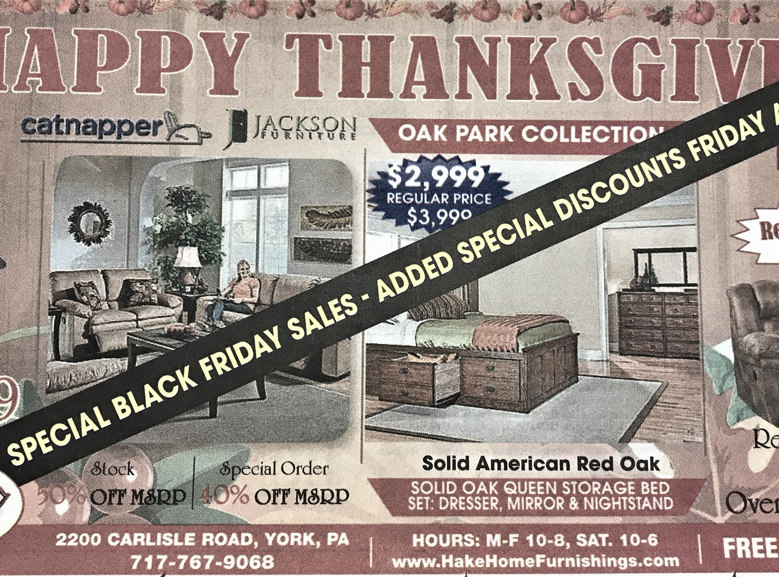 A holiday ad for Hake's Home Furnishings that appeared in the York Daily Record on Wednesday, November 21, 2018.