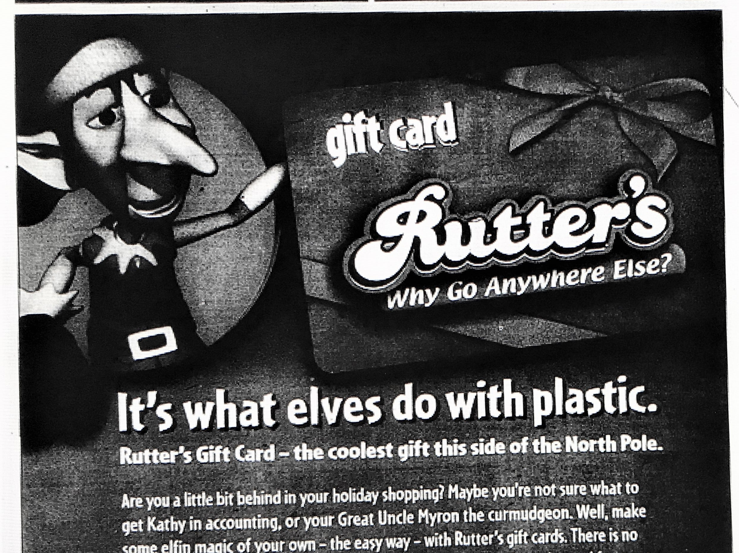 A 2008 ad for Rutter's gift cards.