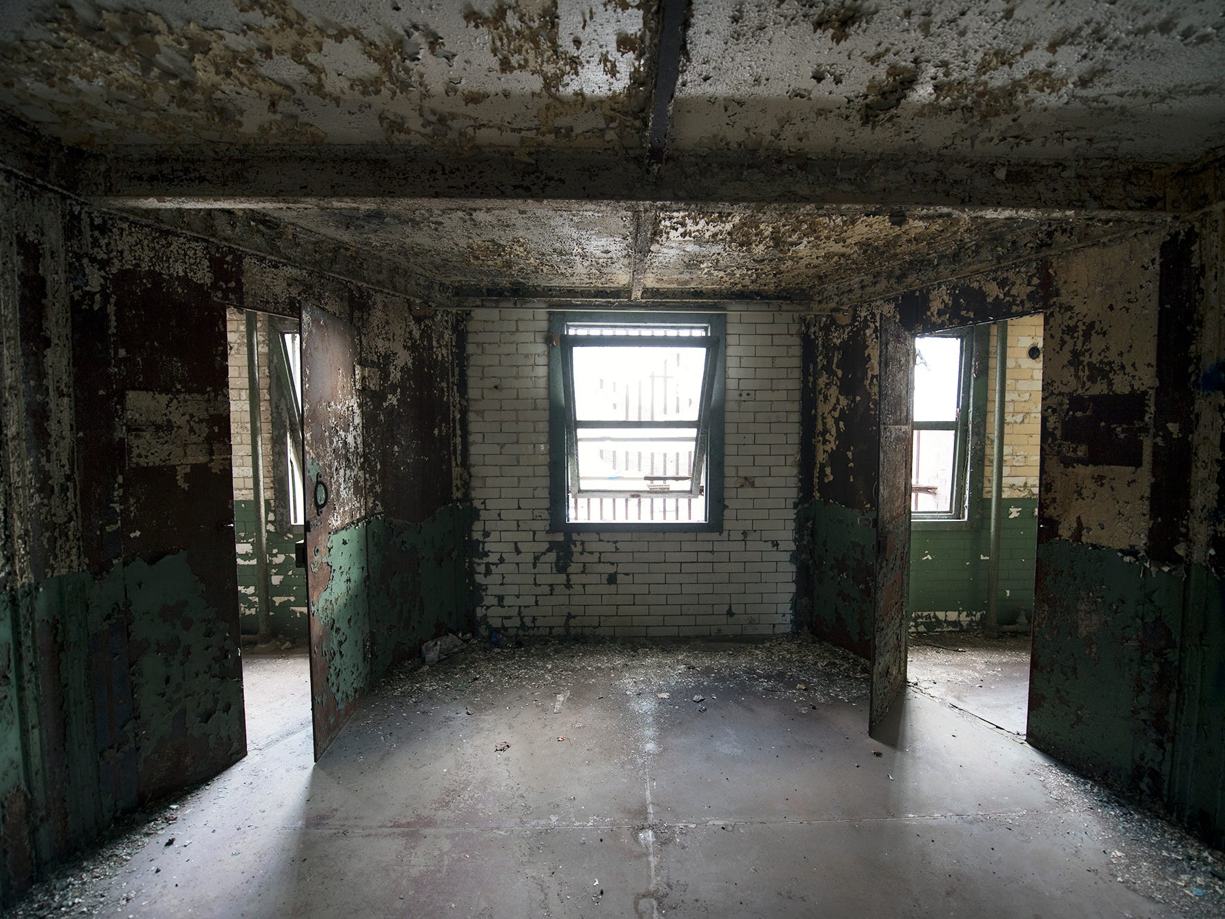 This is a hallway between two banks of prison cells inside the old York County Prison.