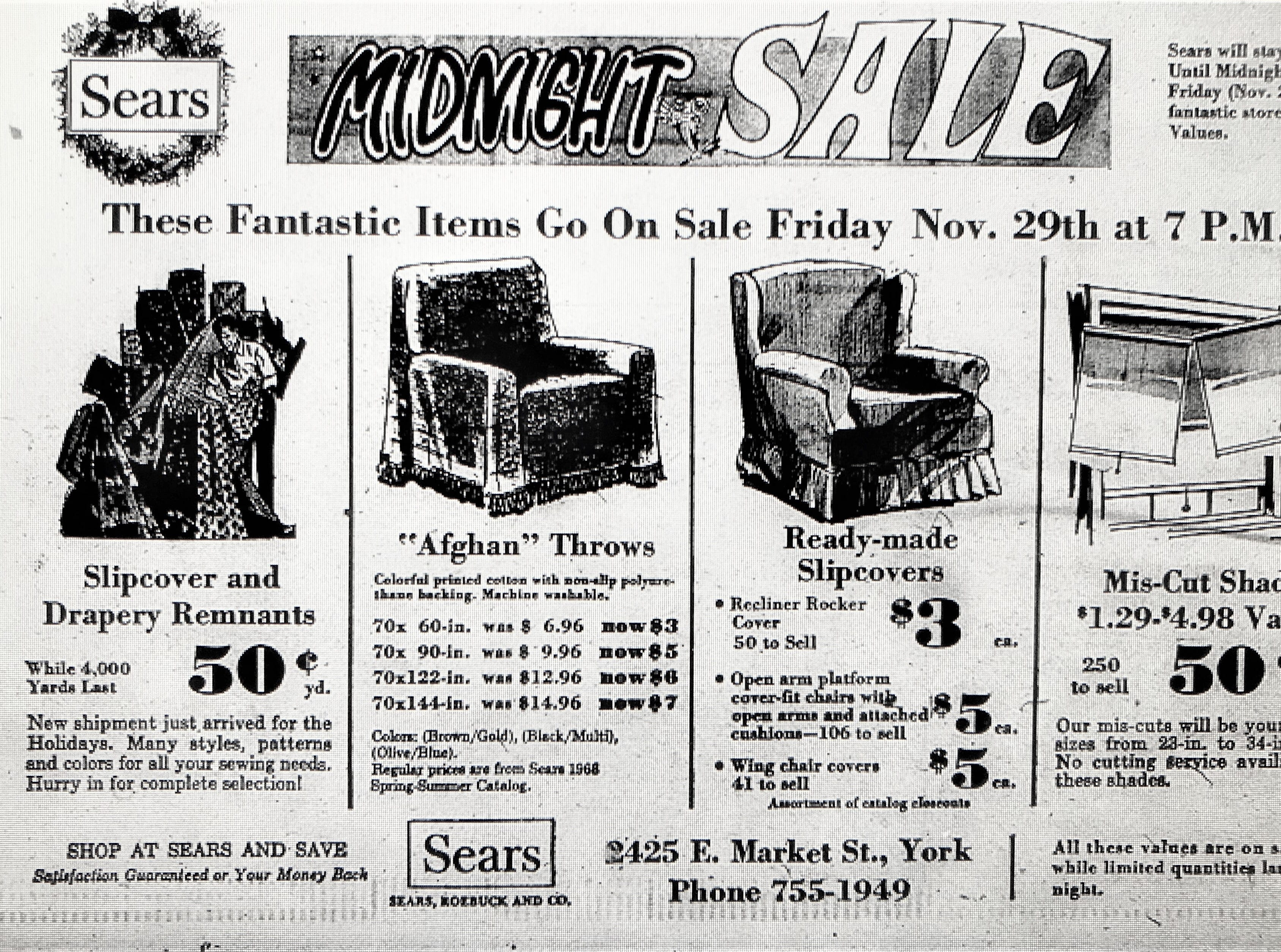 """A 1958 advertisement for a Friday night """"Midnight Sale"""" at 7 p.m. at Sears in downtown York. The department store opened in the 1950s  before moving to the York Galleria however recent times have been difficult. The store closed in August 2018."""