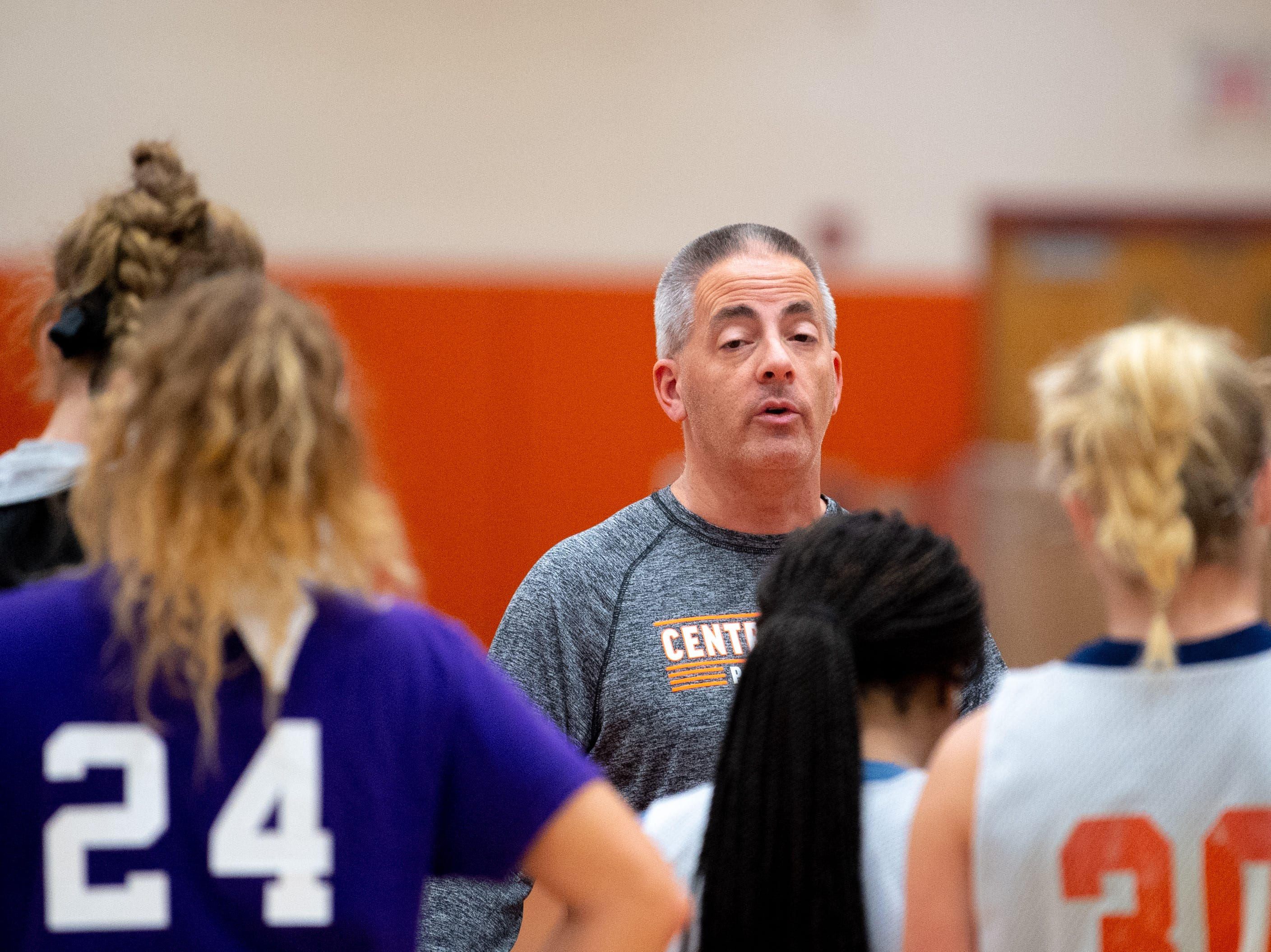 Central York girls' basketball head coach Scott Wisner addresses his players after practice, Wednesday, November 21, 2018.