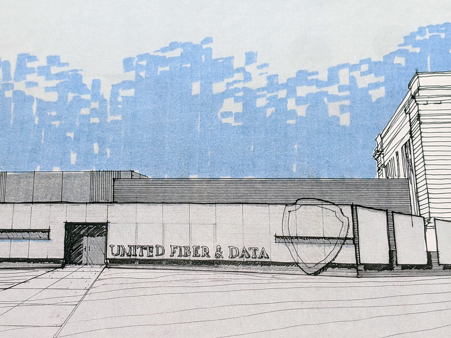 This is an artist's rendering of the new UFD data center that will incorporate the old York County Prison. The renderings are by Warehaus.