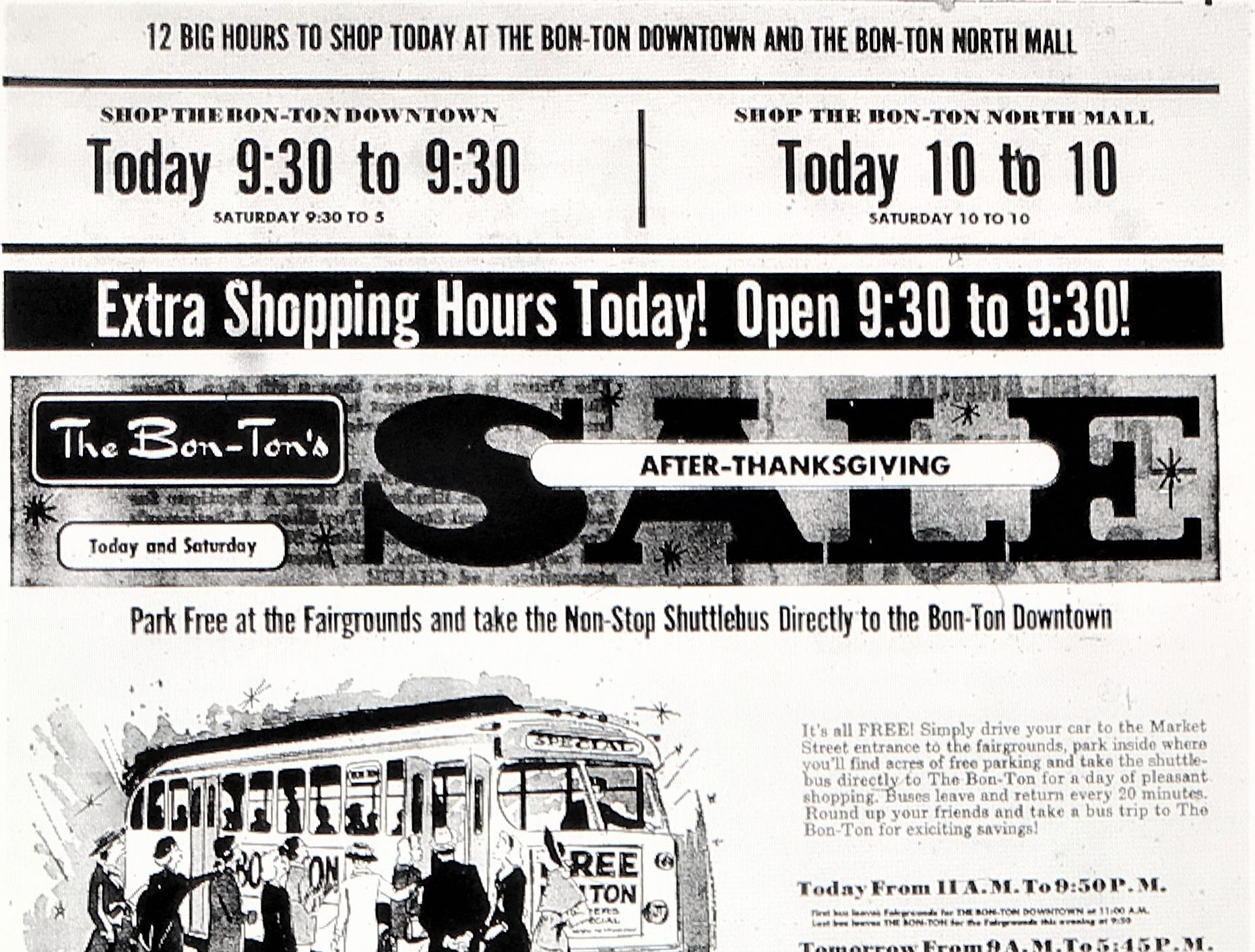 A 1968 advertisement inside an issue of the York Gazette and Daily for an after-Thanksgiving sale at the Bon-Ton in the North Mall. A number of Bon-Ton stores closed this year including the department store's York Galleria location in August 2018.