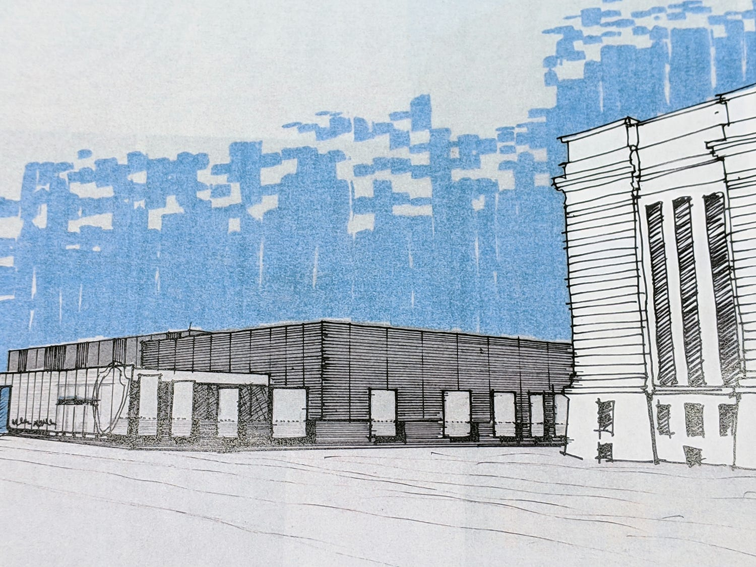Here is an artist's rendering of the new UFD data center that will incorporate the old York County Prison. The renderings are by Warehaus.