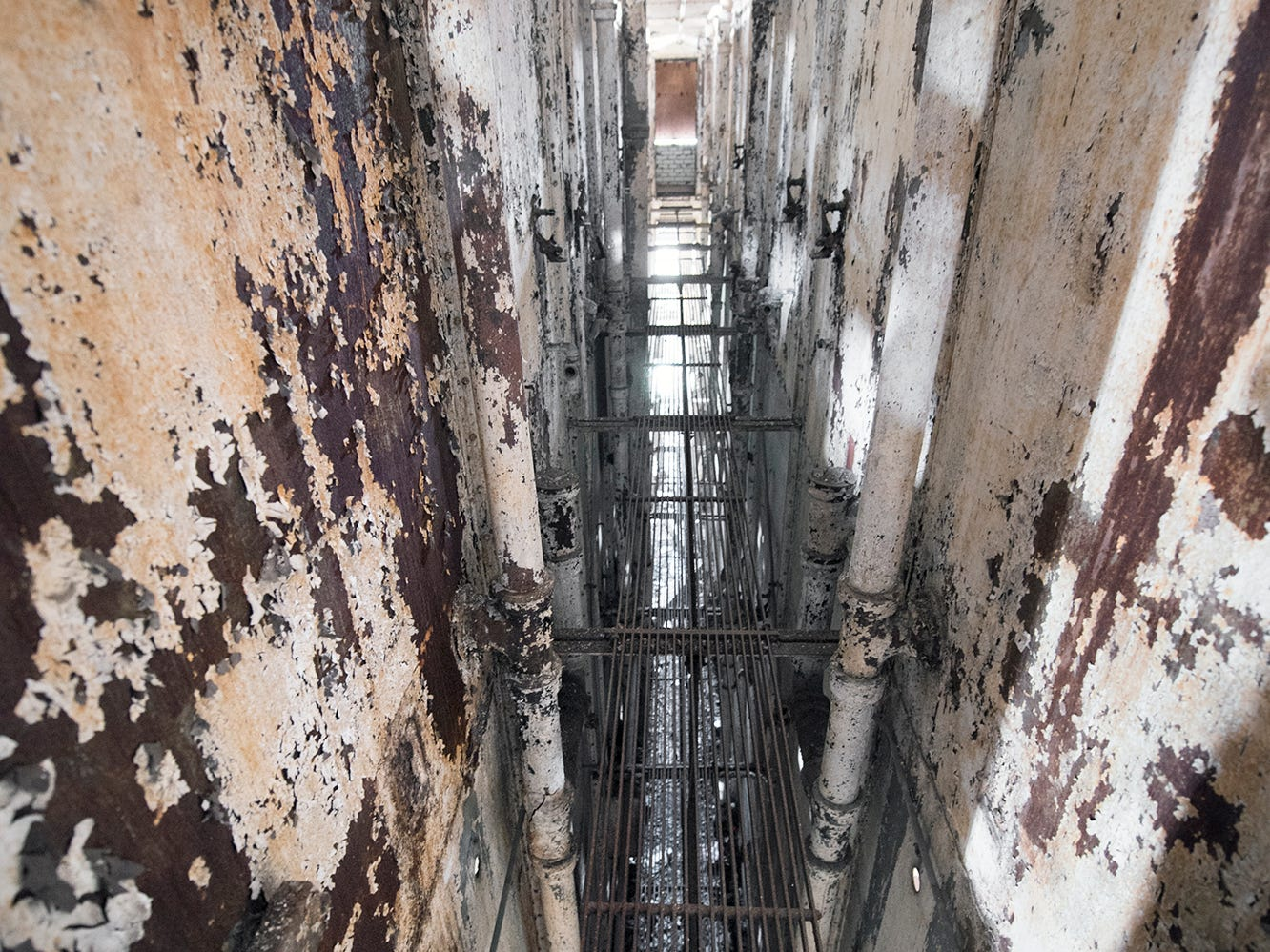 A catwalk runs the height of the prison on the back walls of the cells for access to plumbing inside the old York County Prison.