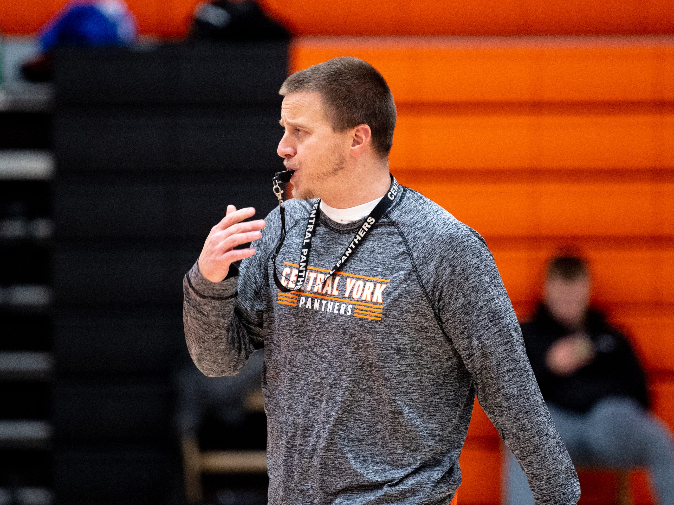 Central York boys' basketball head coach Kevin Schieler blows his whistle, signaling the end of the drill, Wednesday, November 21, 2018.